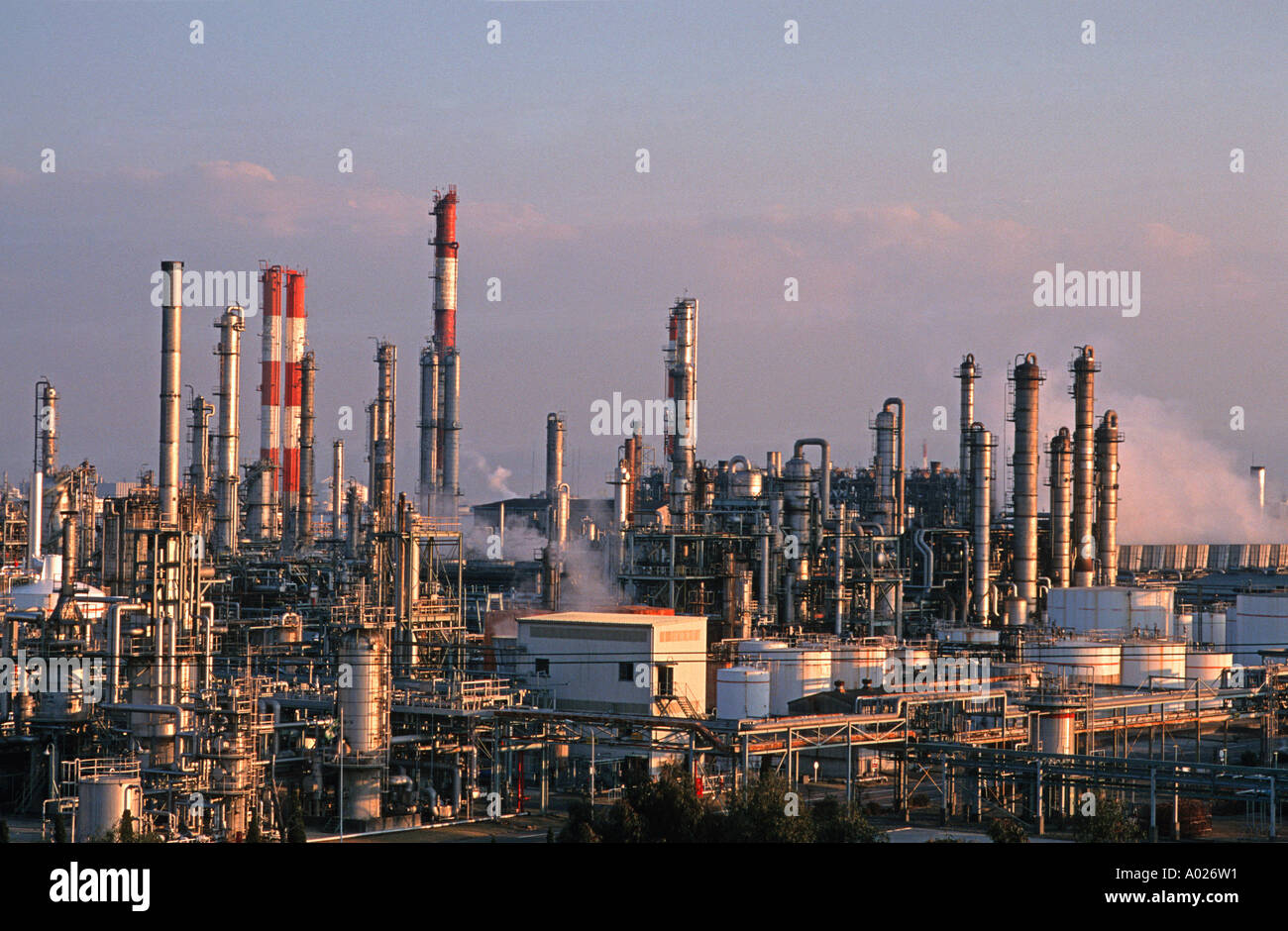 Industrial complex Petrochemical refinery Osaka Japan - Stock Image
