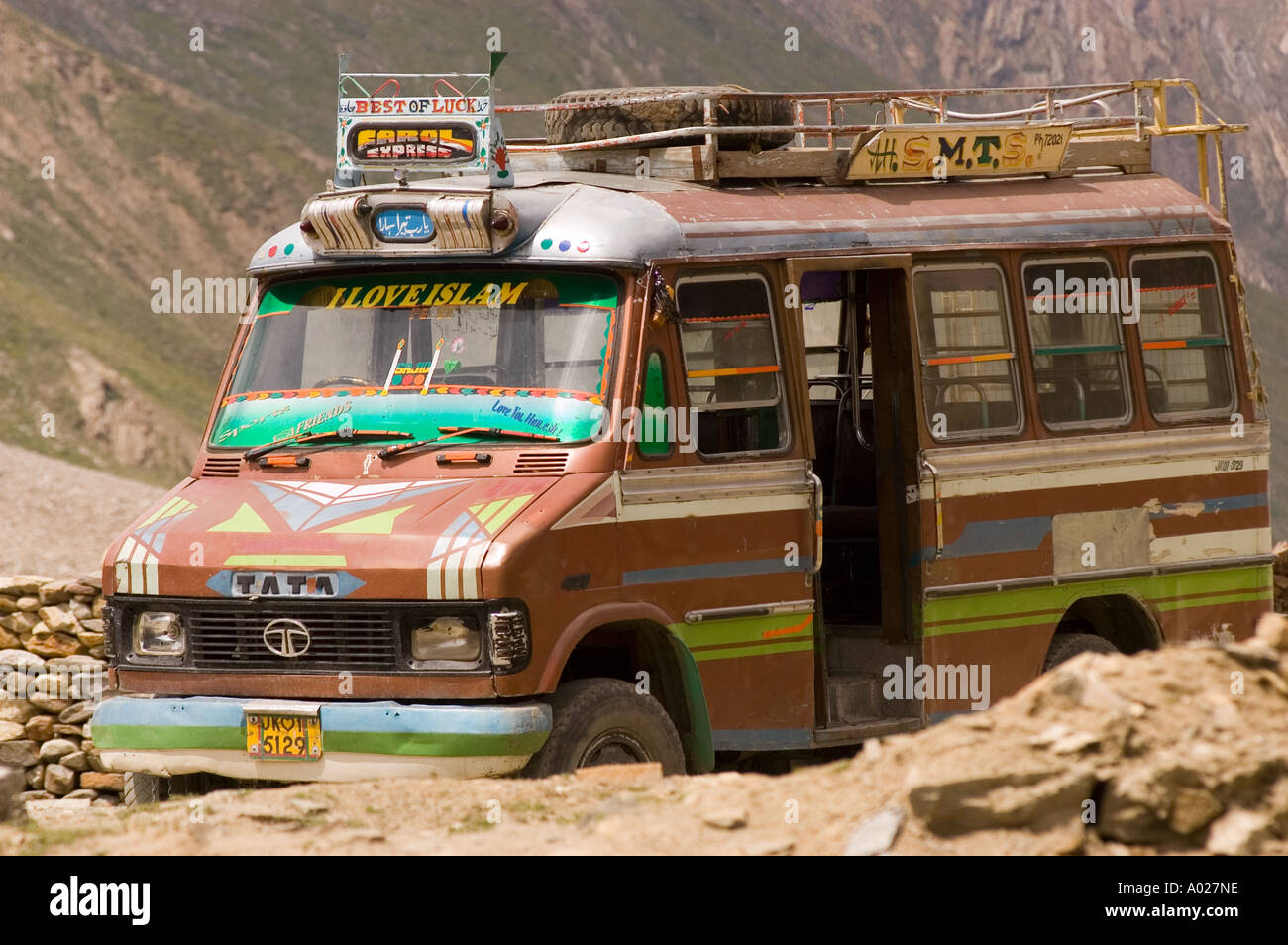 I love Islam sign on Tata indian mini bus Kargil district