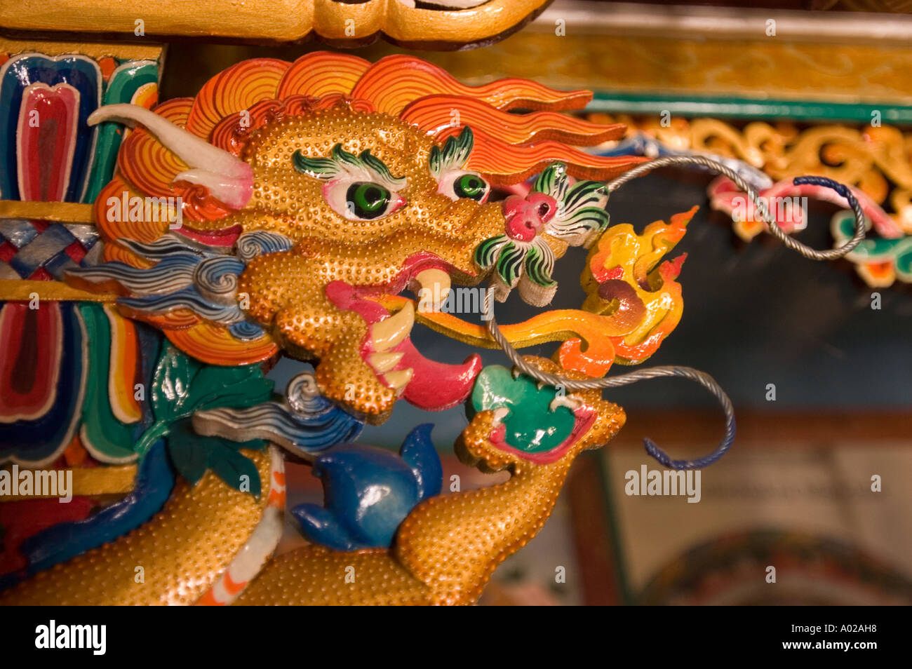 Wooden dragon closeup in traditional Ladhaki style home buddhist Stock  Photo - Alamy