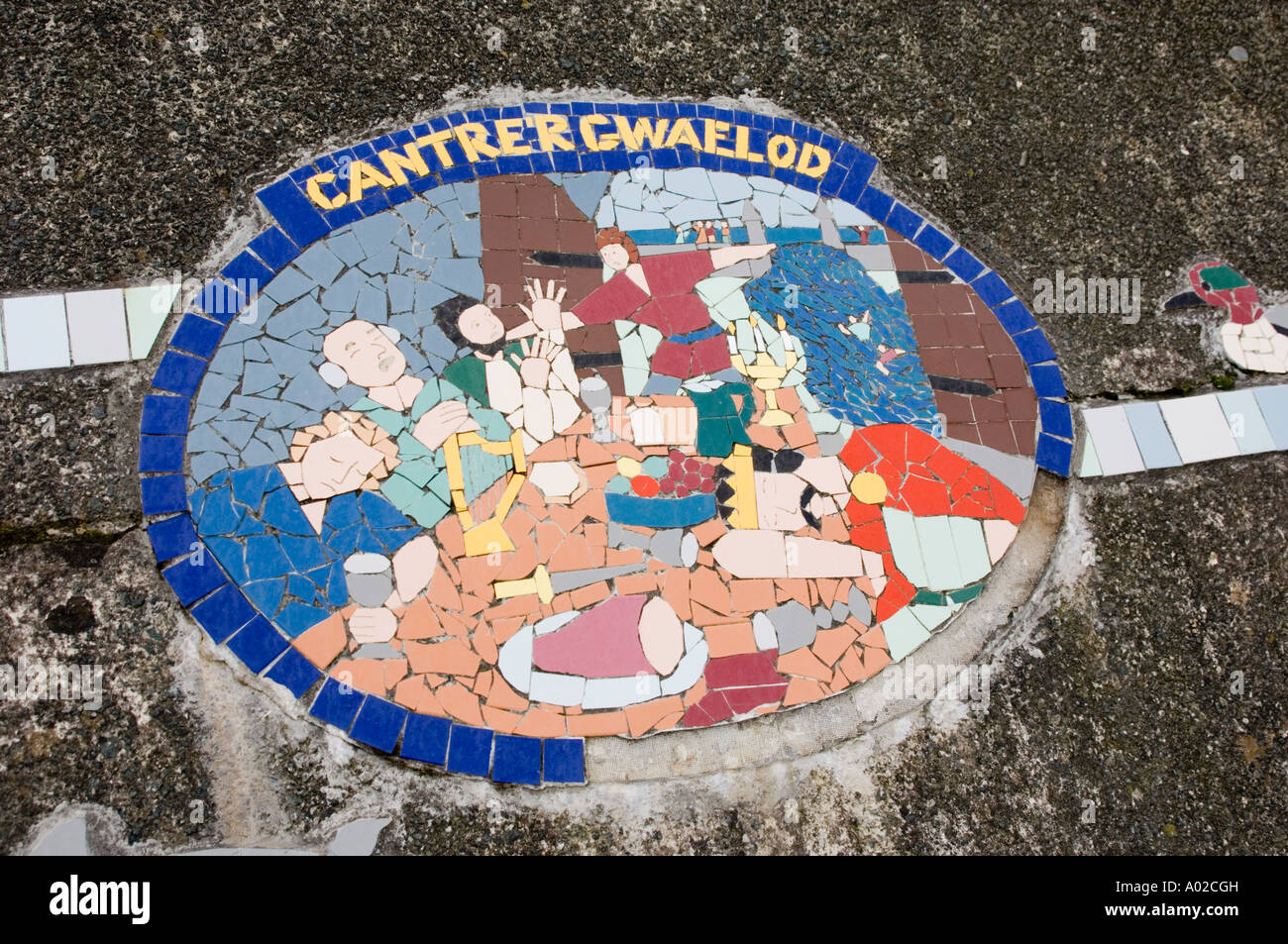 Murals at Borth Ceredigion west wales illustrating the legend of Cantre'r Gwaelod & history of this low lying coastal village - Stock Image