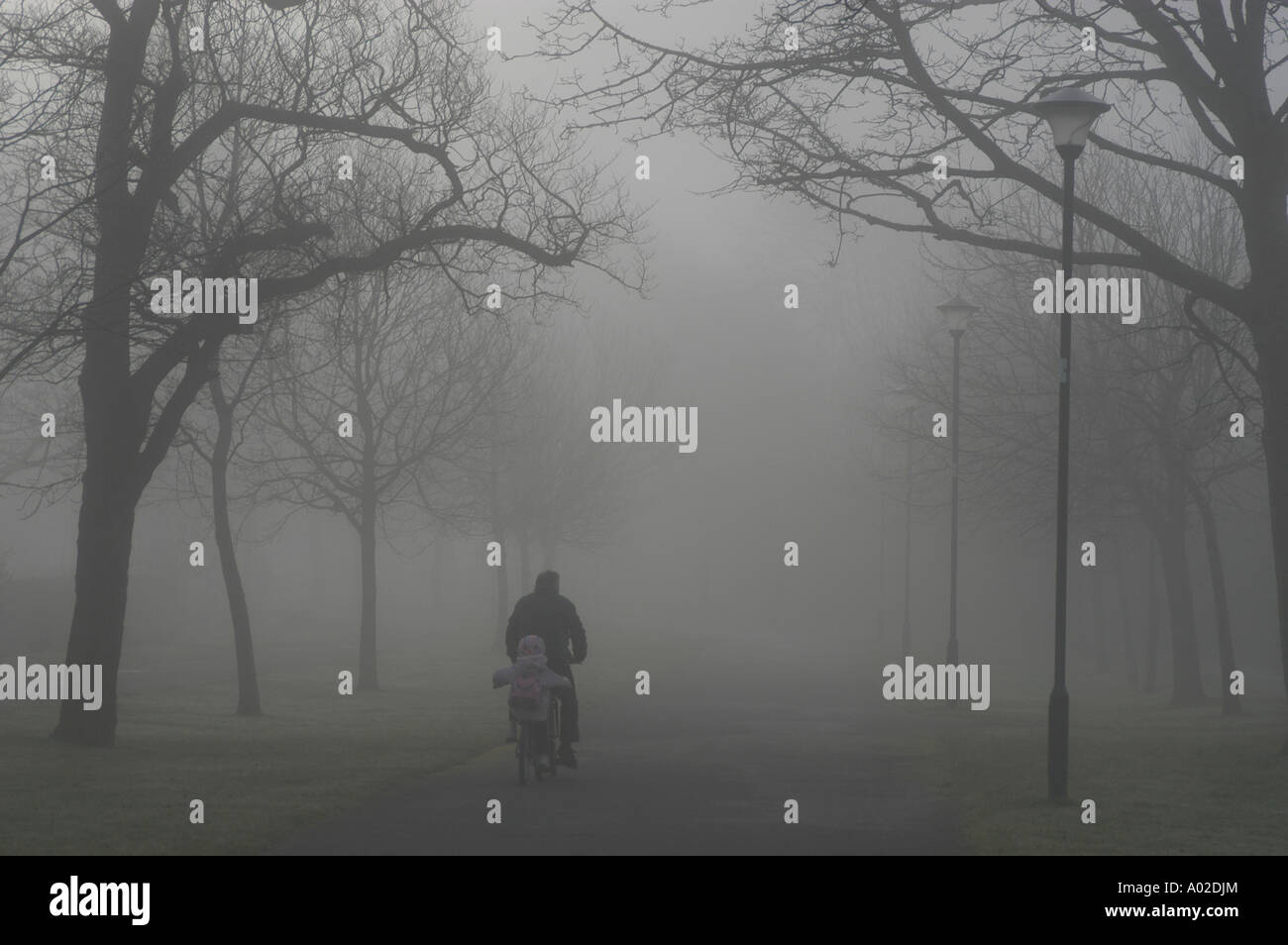 A Father cycling to school with small child in the thick early  morning fog and mist Aberystwyth Ceredigion Wales UK - Stock Image