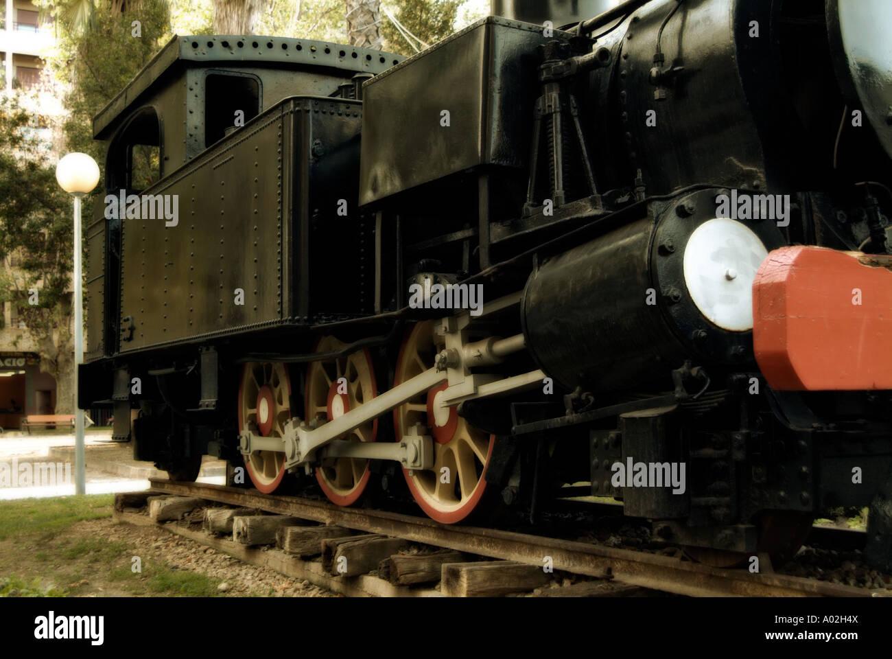 Cocentaina old steam locomotive. Gandia. La Safor district. Valencian Community. Spain - Stock Image