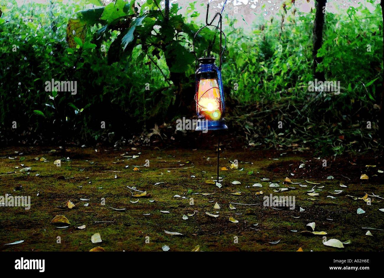 Kerosene light energy lamp in forest jungle retreat outing bombay mumbai india - Stock Image