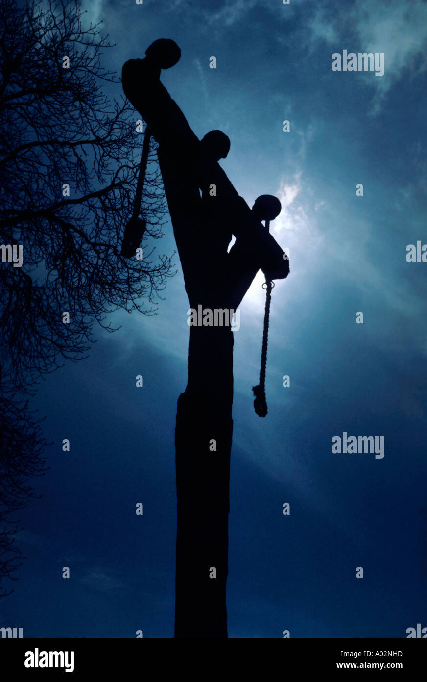 Silhouette of gallows at night, Montcornet, Ardennes, France. - Stock Image