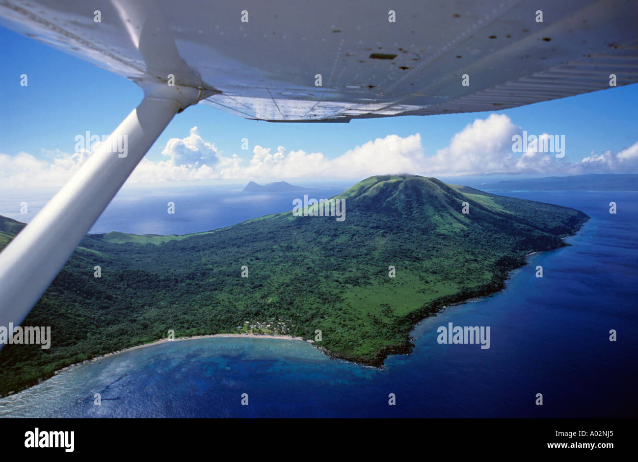 Volcanoes seen from a plane over the island of Efate, Vanuatu, South Pacific Ocean. - Stock Image
