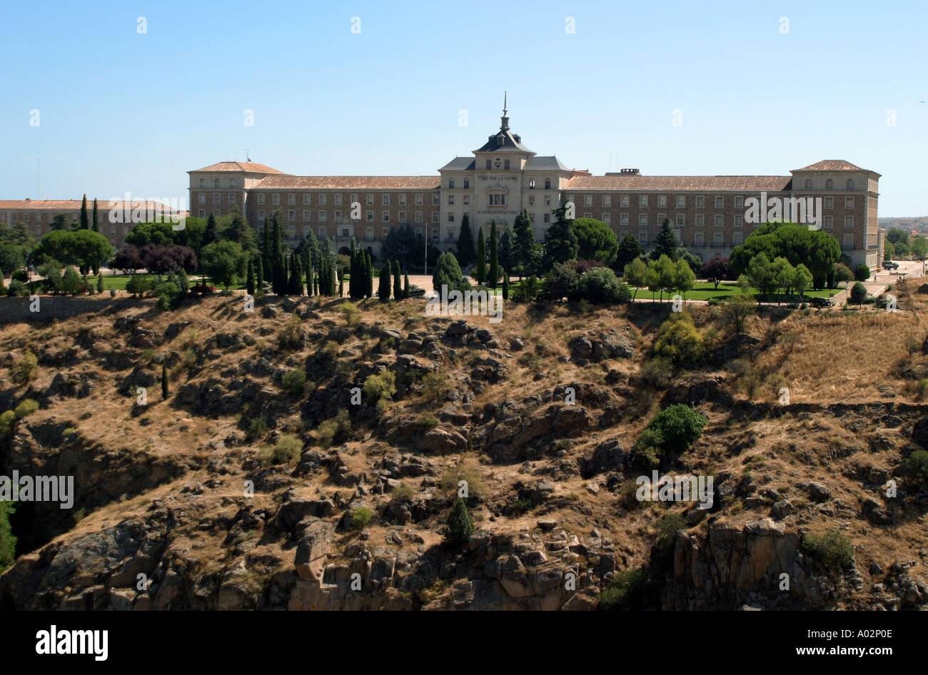 Spain Toledo Castilla la Mancha View of Academia De Infanteria Infantry Academy from Alcazar - Stock Image