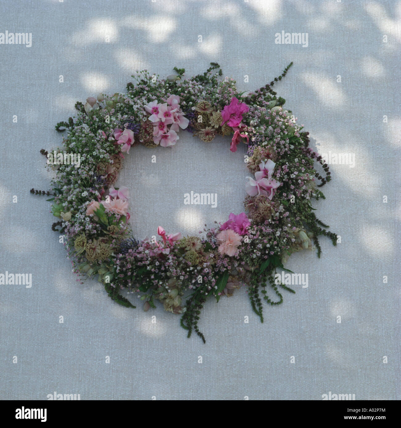 Close Up Of Pink Fresh Flower Wreath Stock Photo 9860791 Alamy