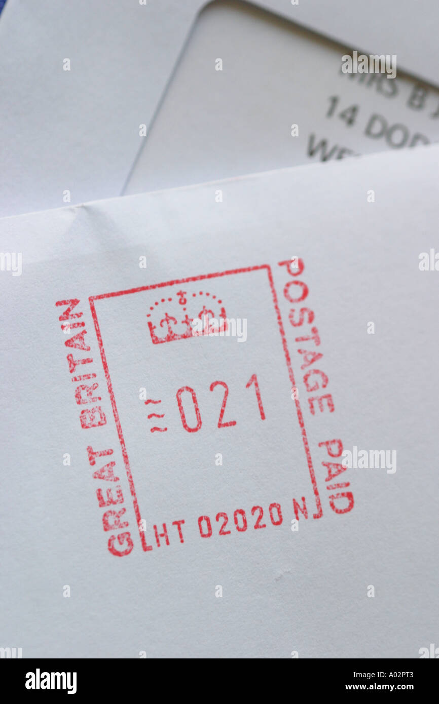 Postage business frank stamp on Royal Mail - Stock Image