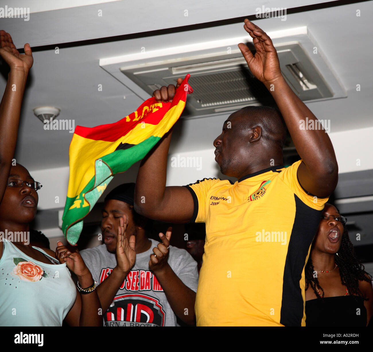 Ghanaian fans celebrating after their first ever World Cup Finals
