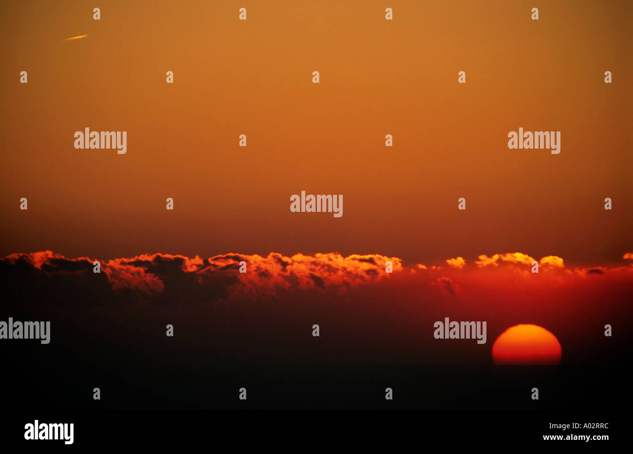 France provence from canaille cape a colorful red sky and the sun corona at sunset - Stock Image