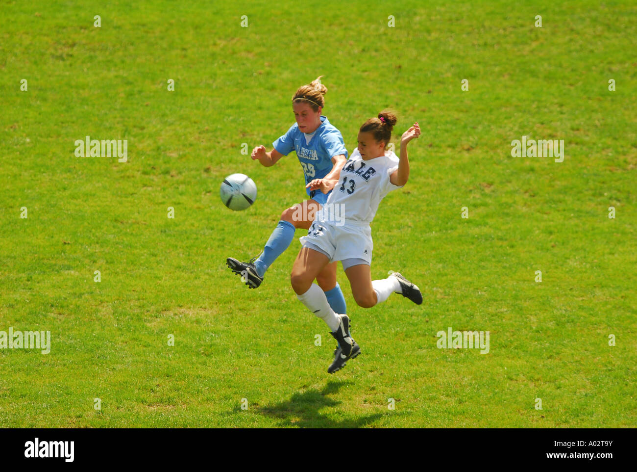 2c7f2ad6b1c Two women battle for the ball collegiate Soccer Yale Vs North Stock ...