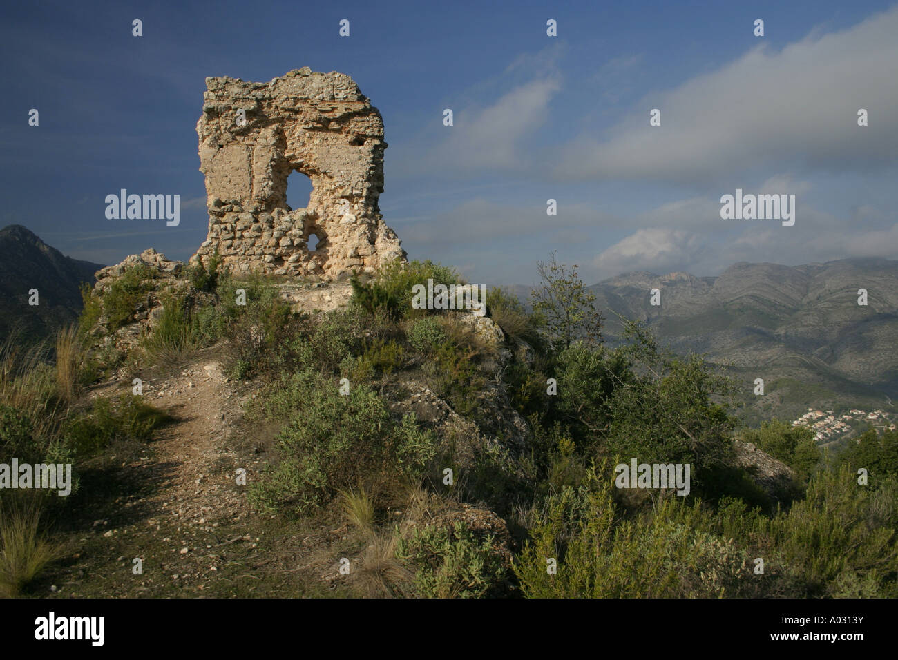 Orba Castle above the town of Orba on the Costa Blanca, Spain - Stock Image