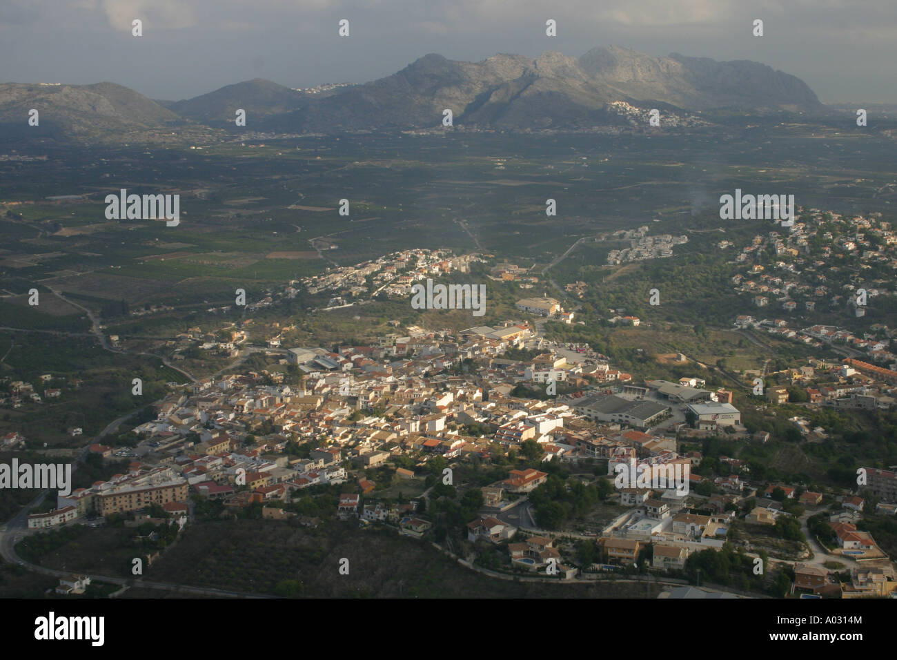 Orba from the hilltop fort of Orba Castle on the Costa Blanca, Spain - Stock Image