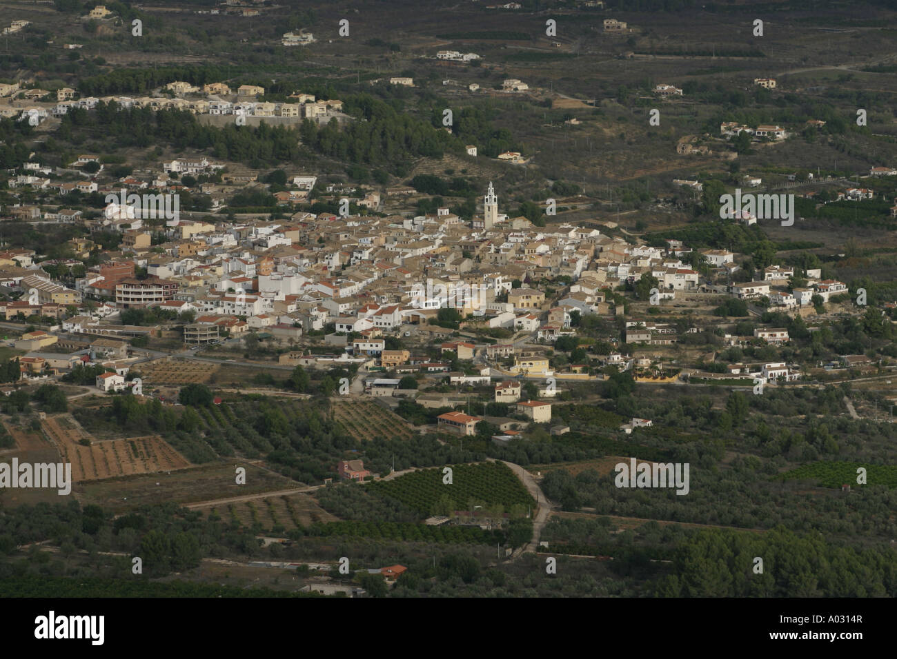 Parcent village from the Coll de Rates on the Costa Blanca, Spain - Stock Image