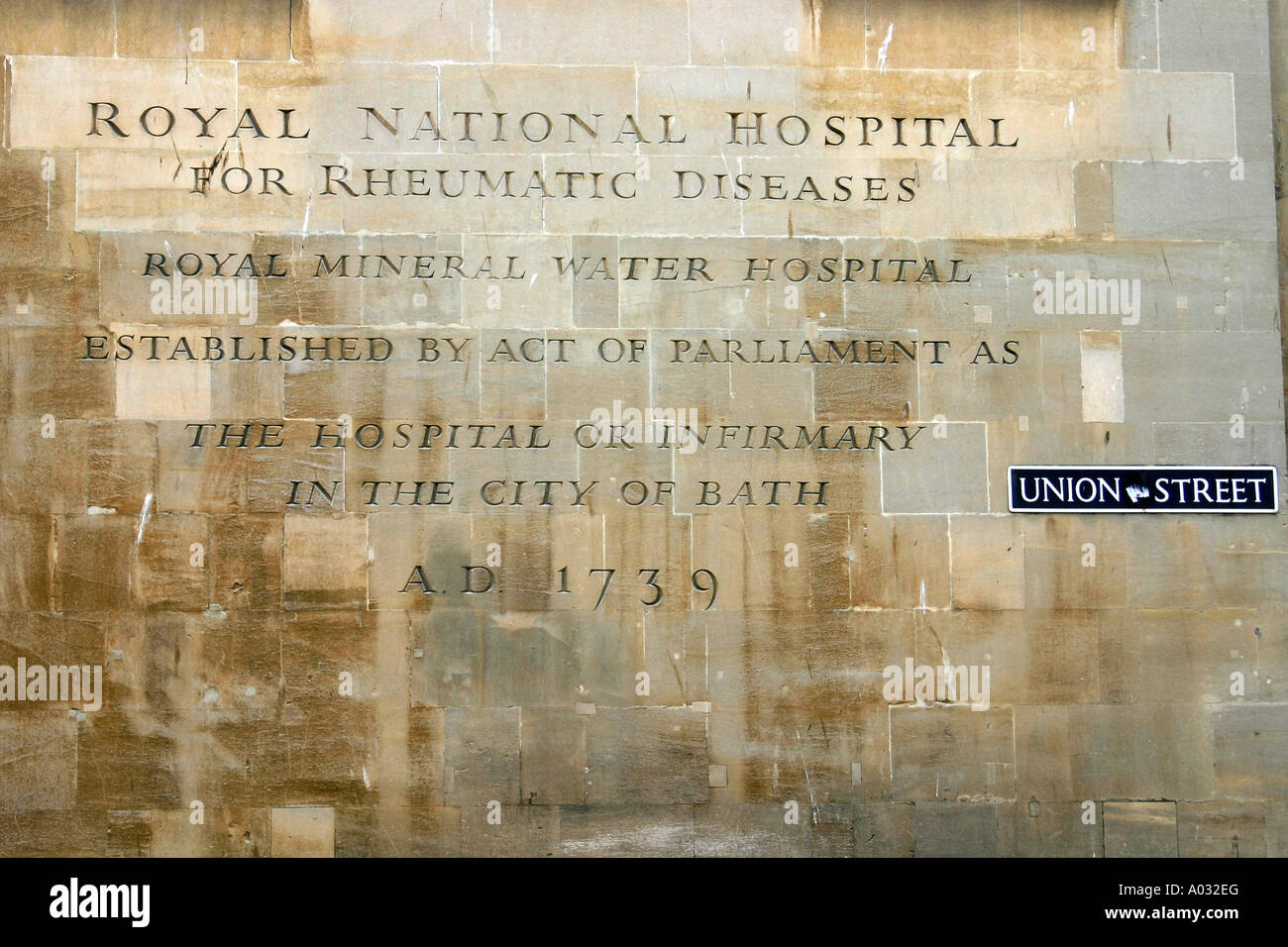 Proclamation on the side of the Royal National Hospital for Rheumatic Diseases in Bath UK - Stock Image