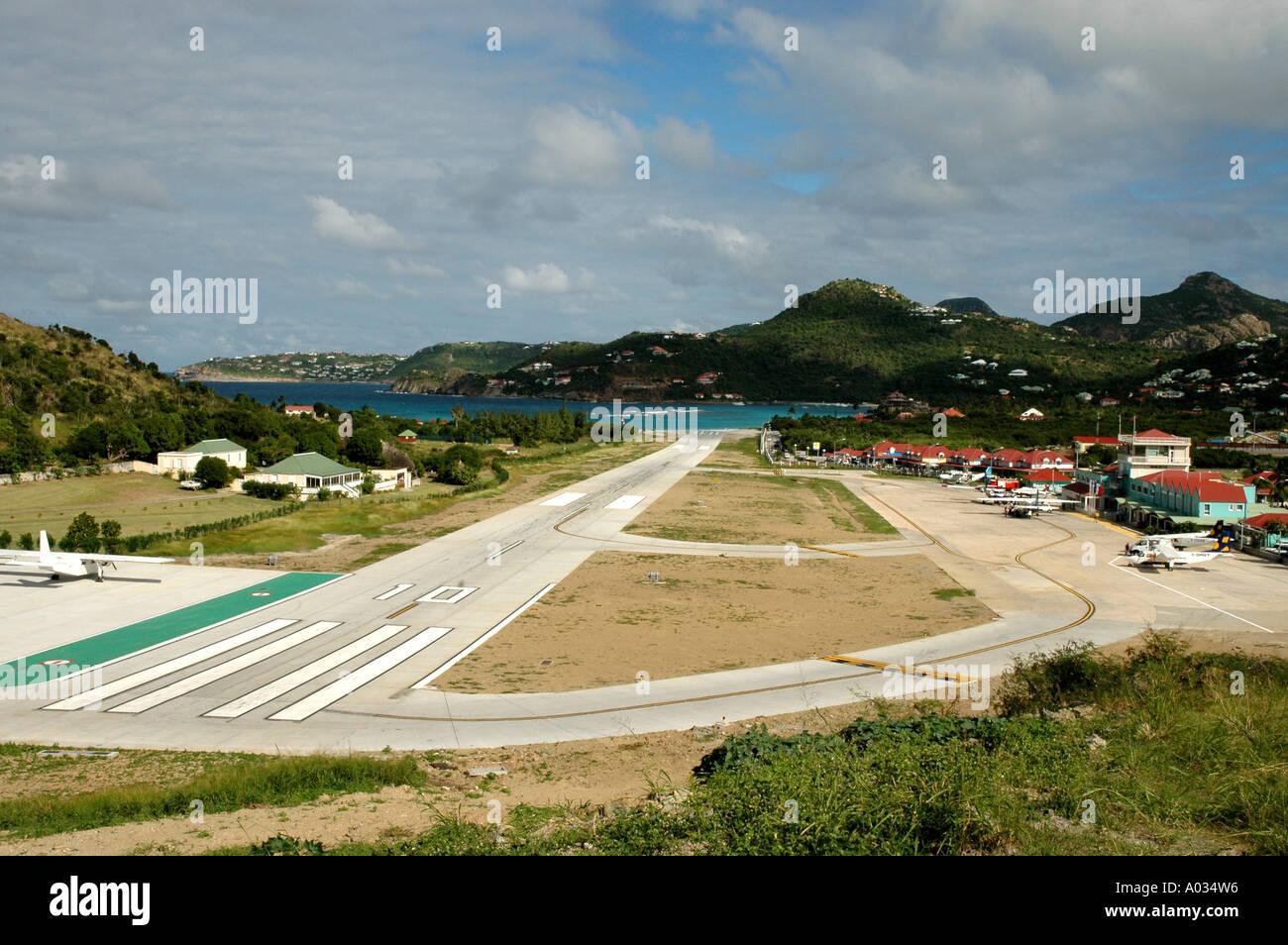 St Bareths short airport runway - Stock Image