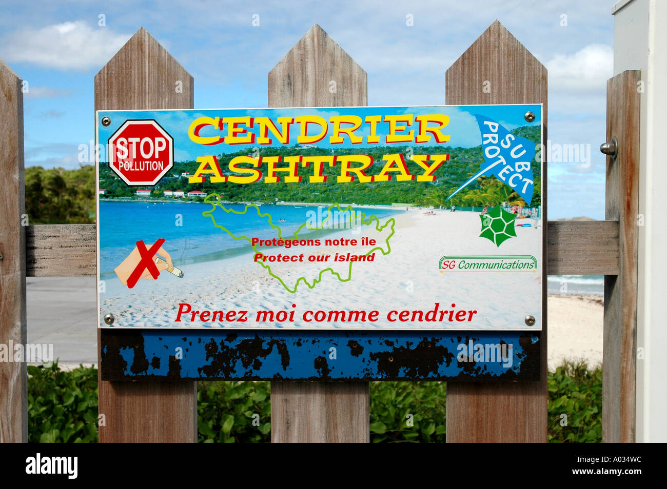 Saint St Barths st barts antismoking sign French West Indies - Stock Image