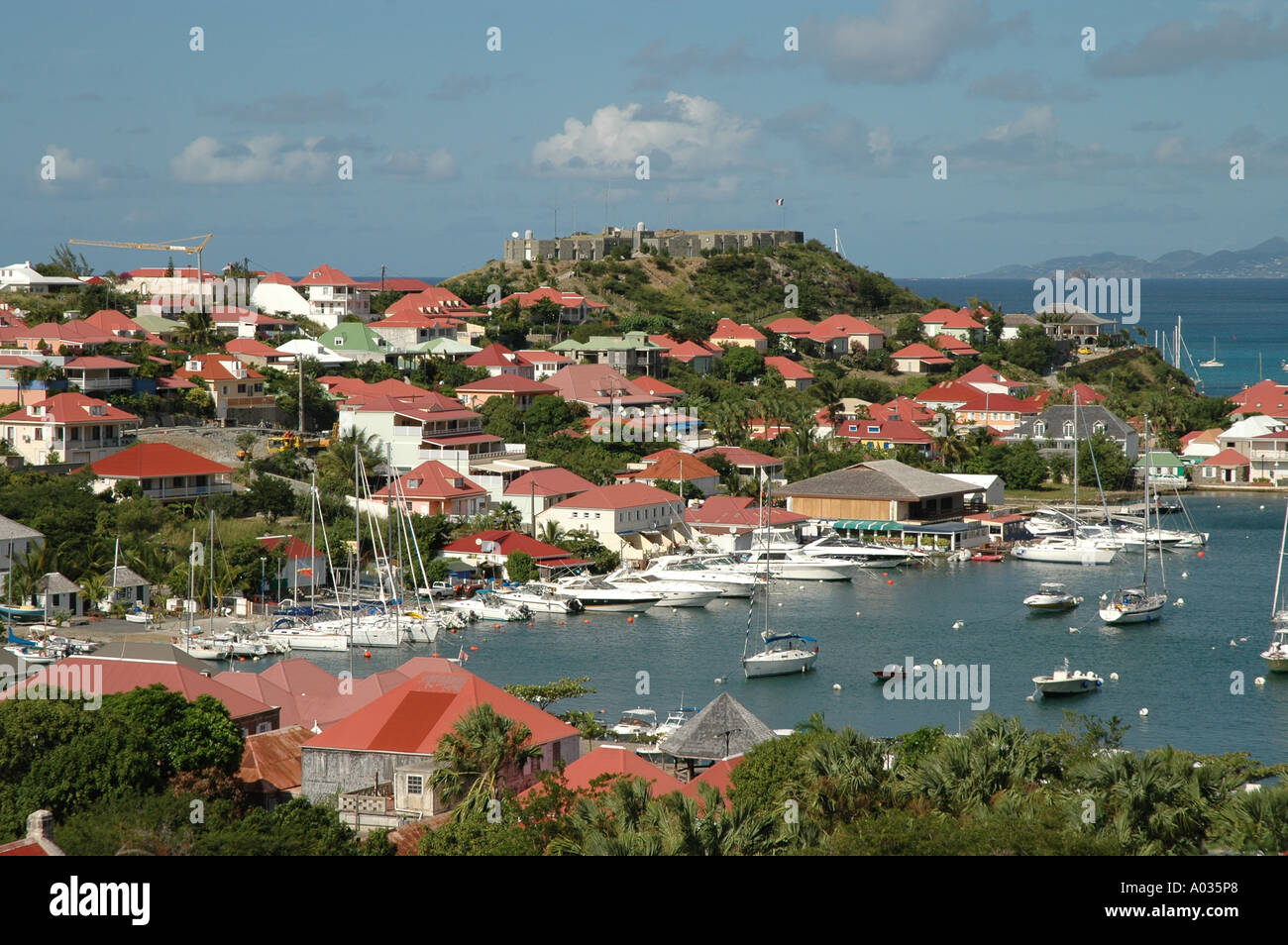 St Barths St Barts Gustavia Harbor fort overlooking the city - Stock Image