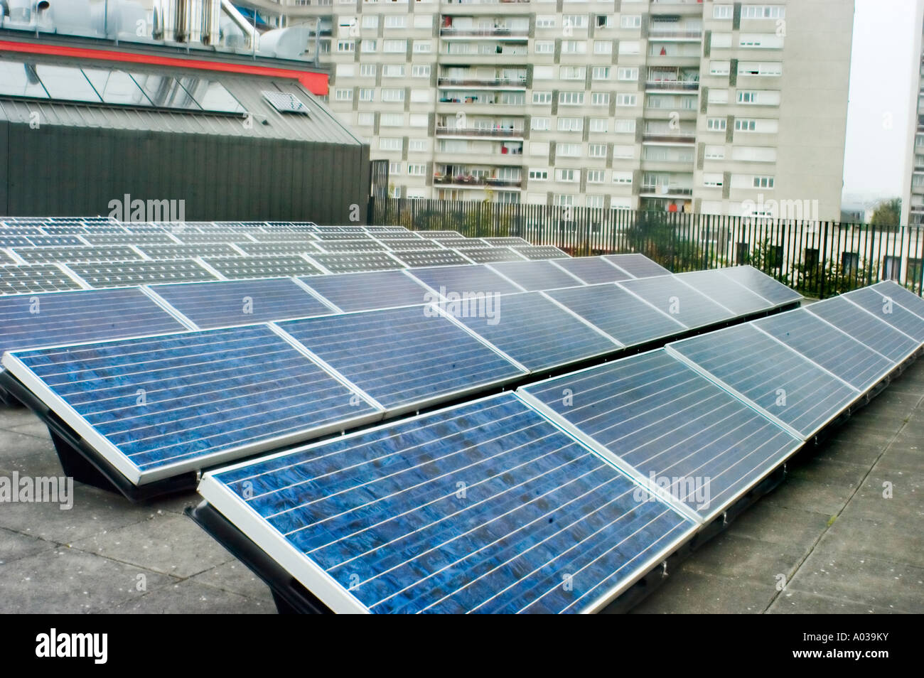 Paris, France,  Renewable Energy Solar Photo voltaic Cell Panels Outside on Roof - Stock Image