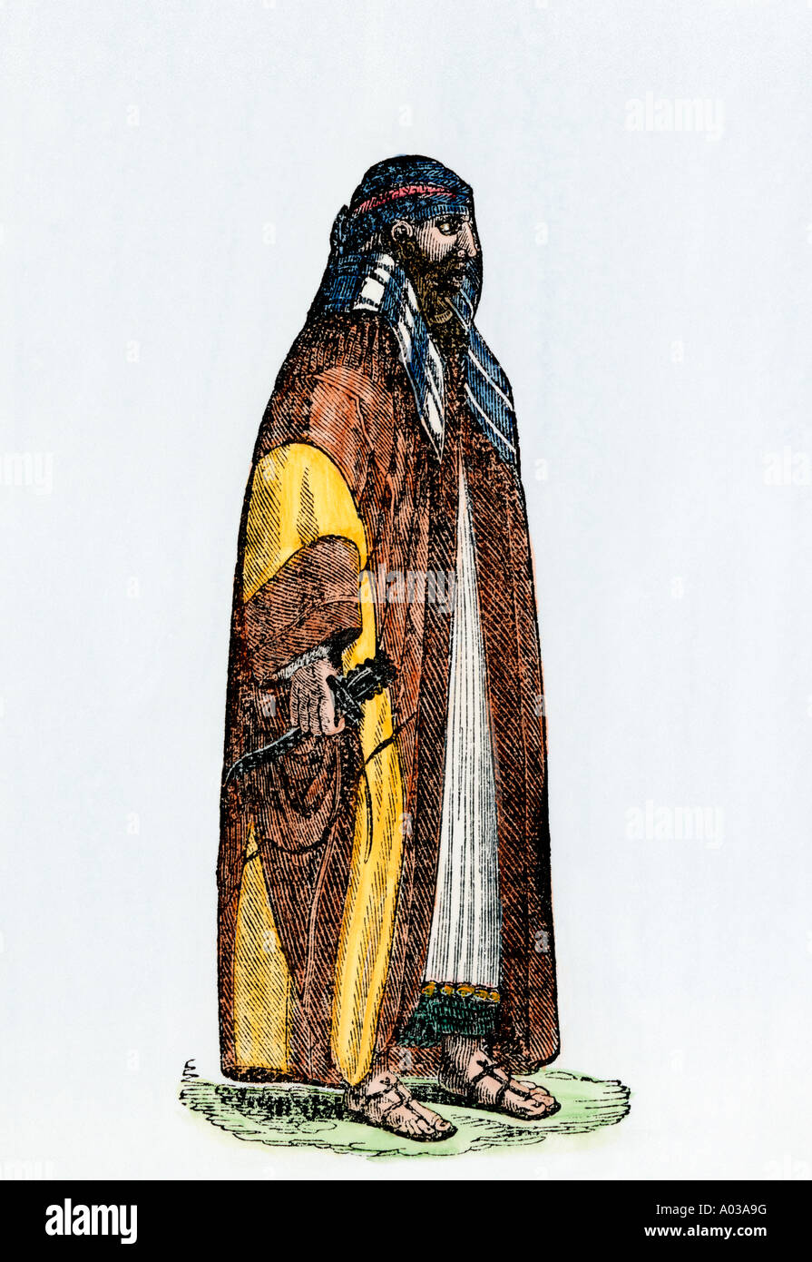 Rahmah ben Jabir a Jossamee pirate chief. Hand-colored woodcut - Stock Image