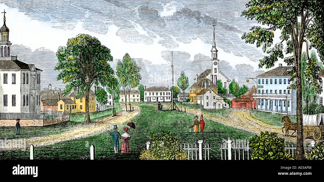 Village center of Concord Massachusetts with the courthouse on the left circa 1830. Hand-colored woodcut - Stock Image