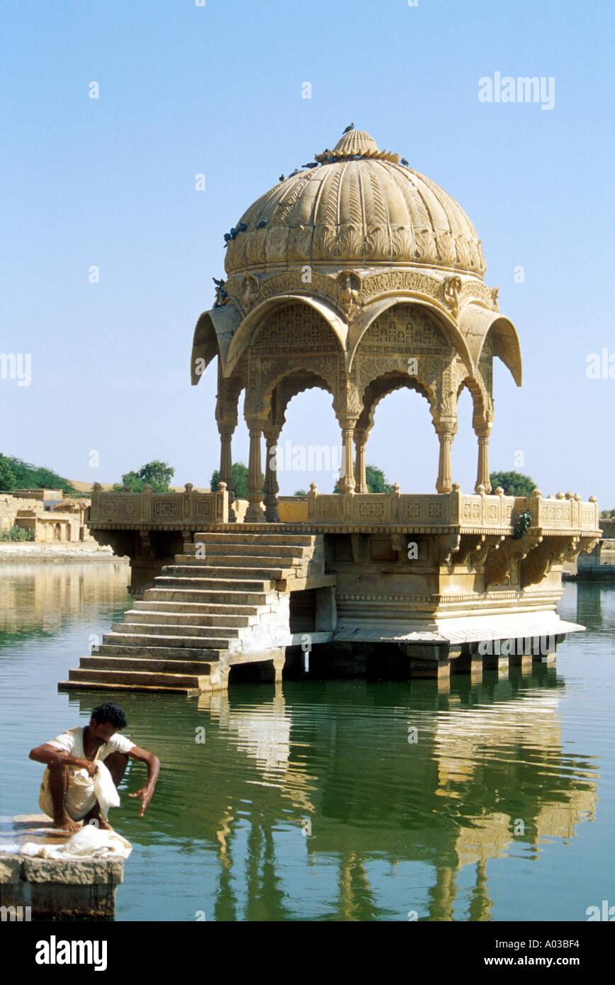 Hindu Temple, Gadi Sagar, Jaisalmer, Rajasthan, India Stock Photo