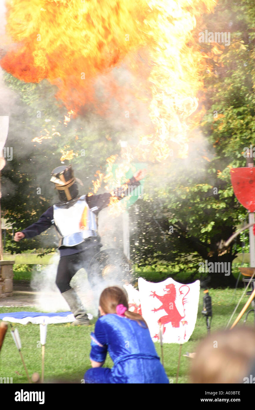 Pyrotechnic stunt from the Robin Hood Pageant - Stock Image