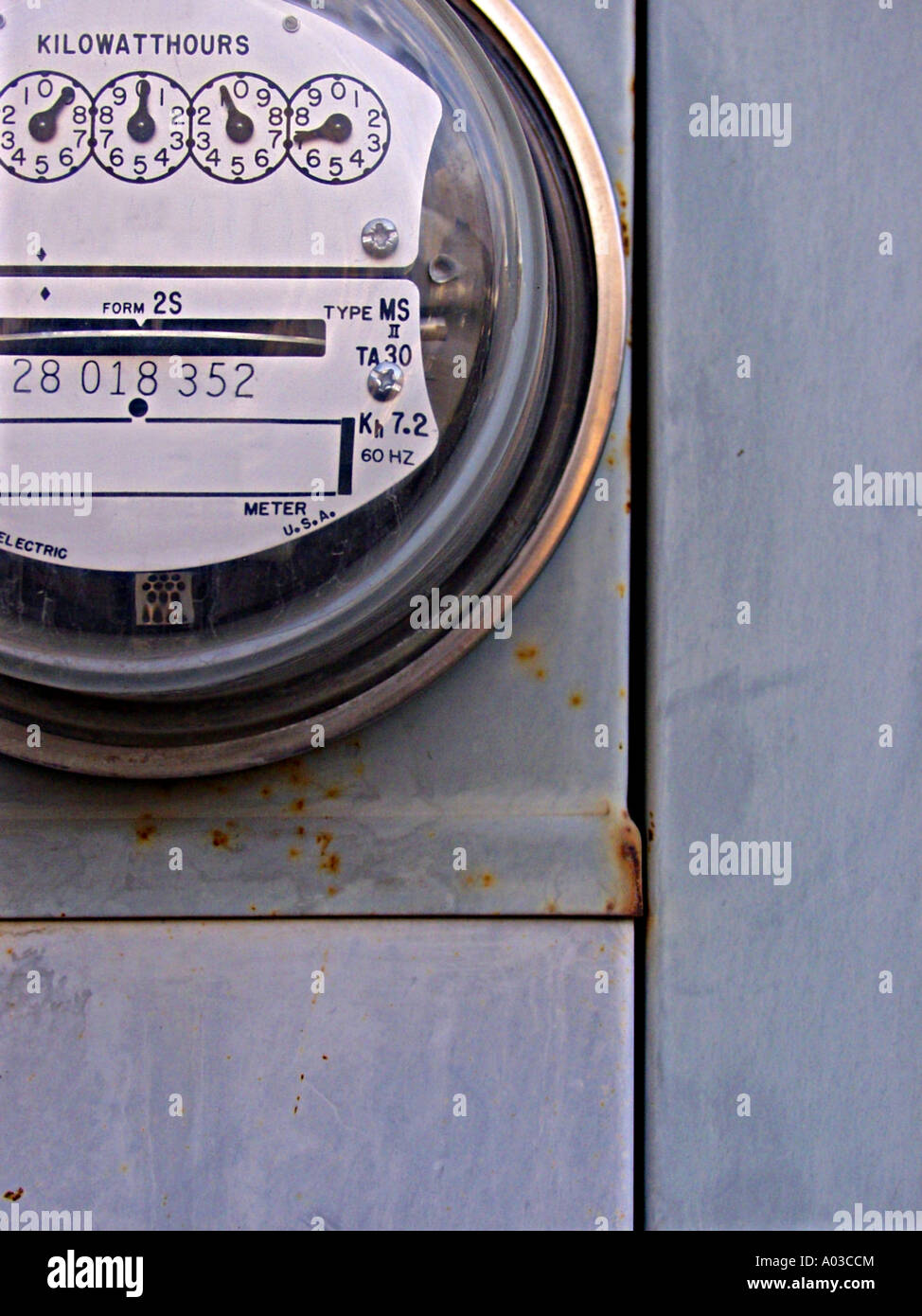 Close view of a residential style electrical power meter. - Stock Image