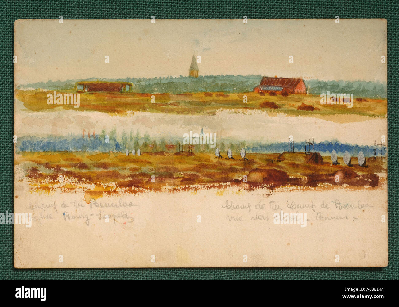 AN AIRFIELD PART OF A COLLECTION OF OIL PAINTINGS 1914 1918 PURPORTED TO BE BY ADOLF HITLER - Stock Image