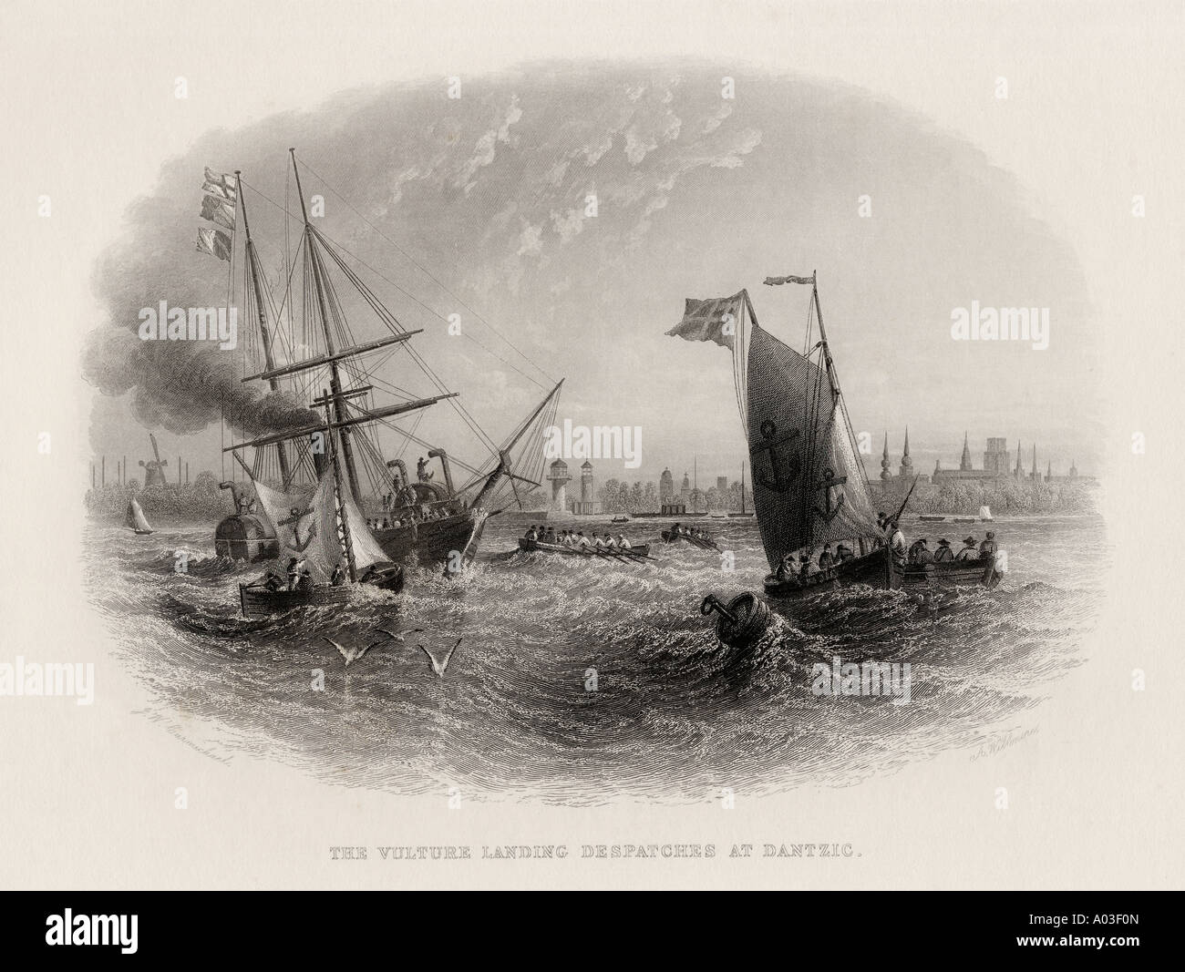 19th century Royal Navy boat Vulture landing dispatches at Danzig. Engraved by A Willmore Stock Photo
