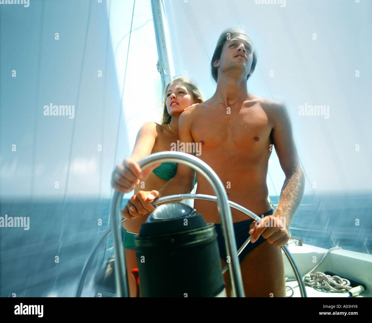 BS - THE BAHAMAS:  Sailing off Grand Cay - Stock Image