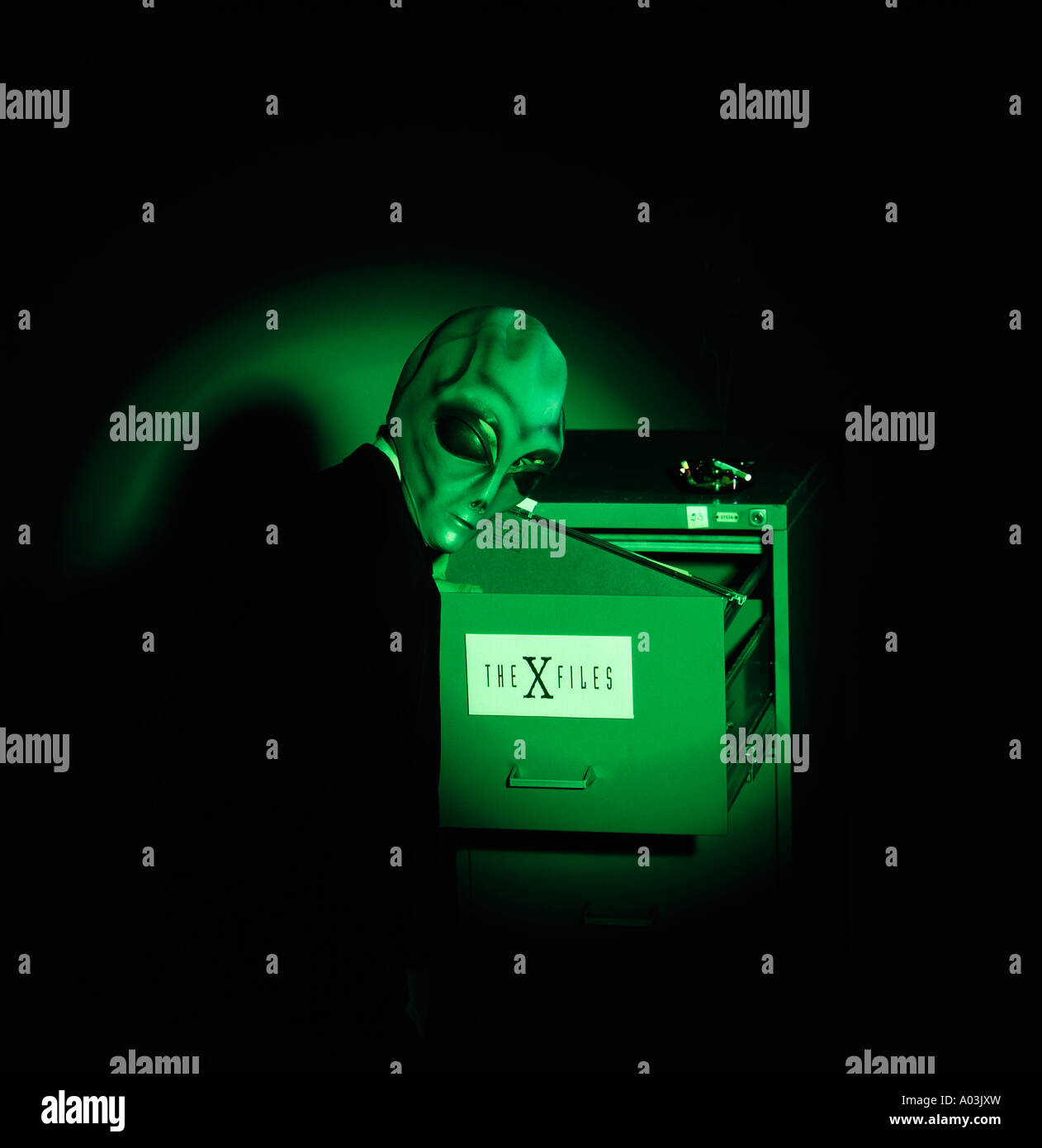 Alien looking for the x files - Stock Image