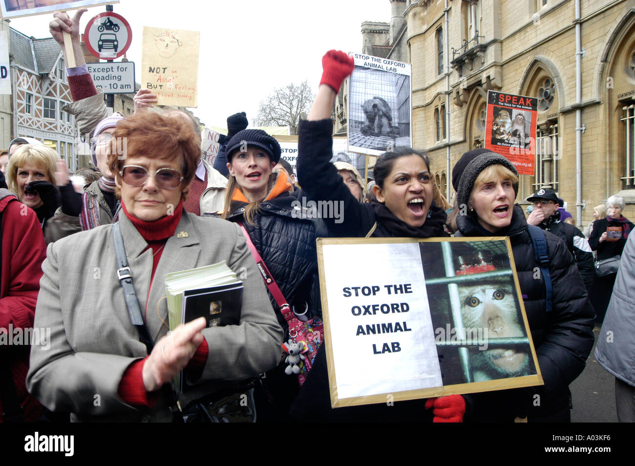 Animal rights protesters on a march in Oxford against the building of an animal laboratory by Oxford University - Stock Image