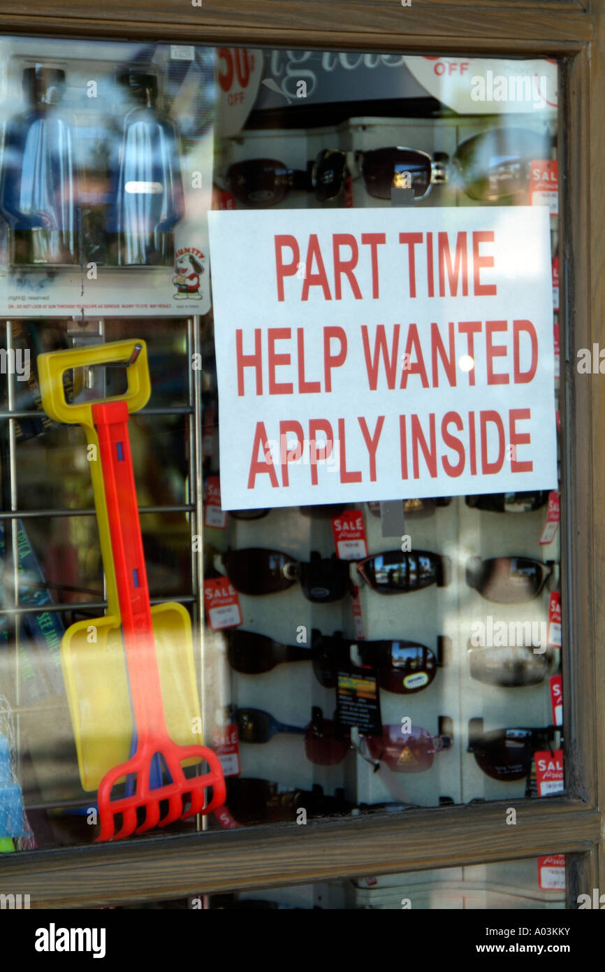 Part time help required. Sign in shop window - Stock Image