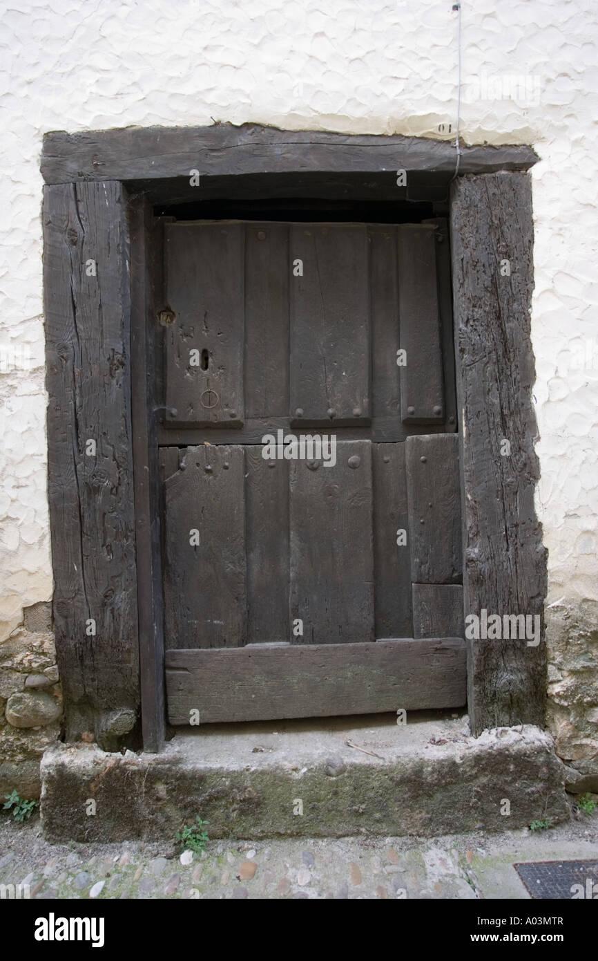 Old wooden door Covarrubias Old Castille Spain - Stock Image