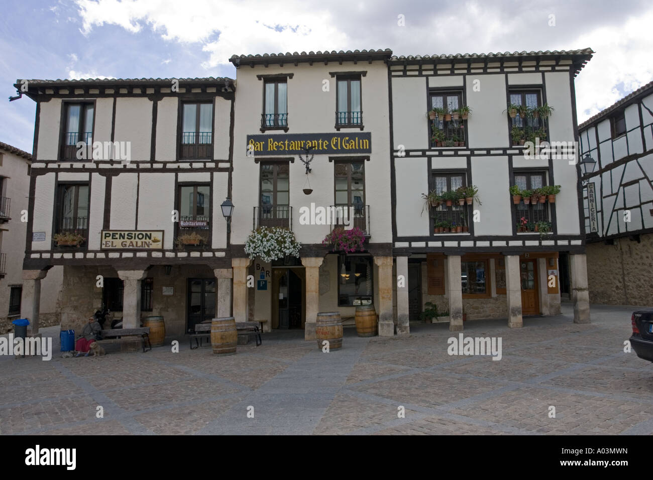 Old half timbered house now a hotel Covarrubias Old Castille Spain - Stock Image