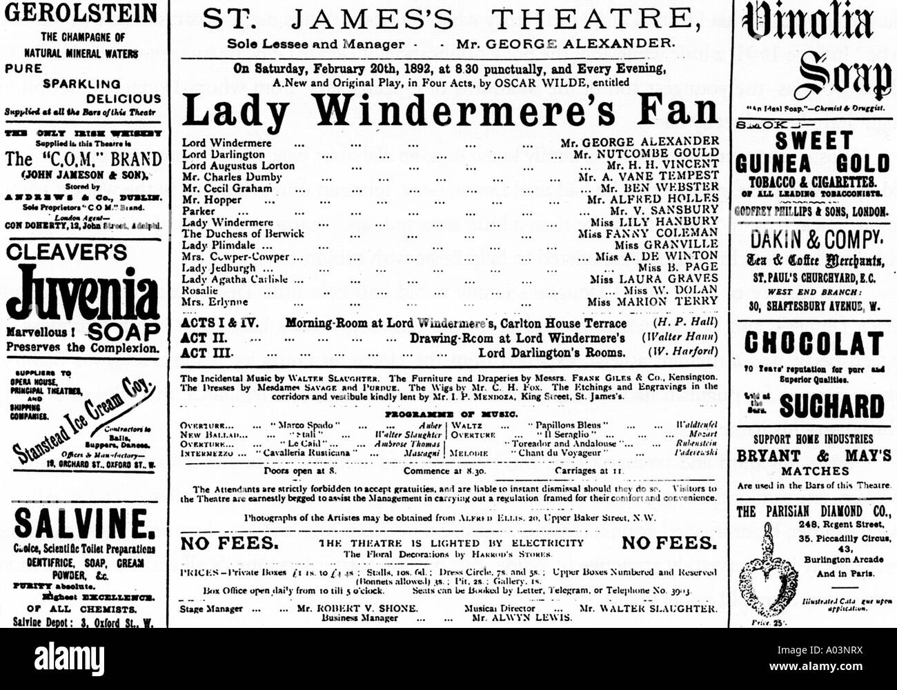 OSCAR WILDE  Advert for Lady Windermere's Fan at St James Theatre, London, which opened on 20 February 1892 - Stock Image