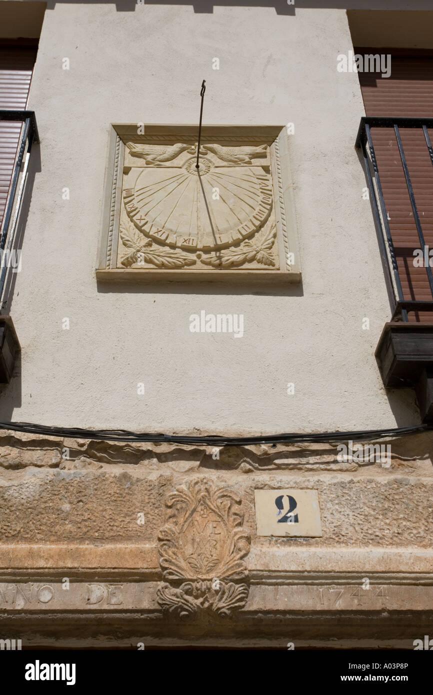 Stone sundial over doorway Covarrubias Old Castille Spain - Stock Image