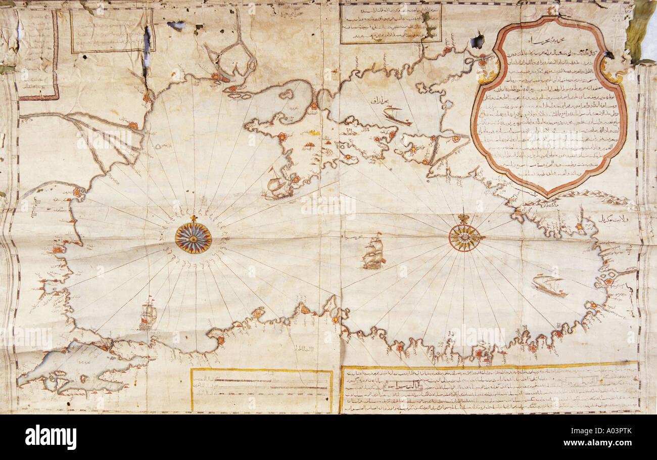Historical Chart Of Black Sea, Cartographer Unknown, Topkapi Palace Museum,  Istanbul Turkey.