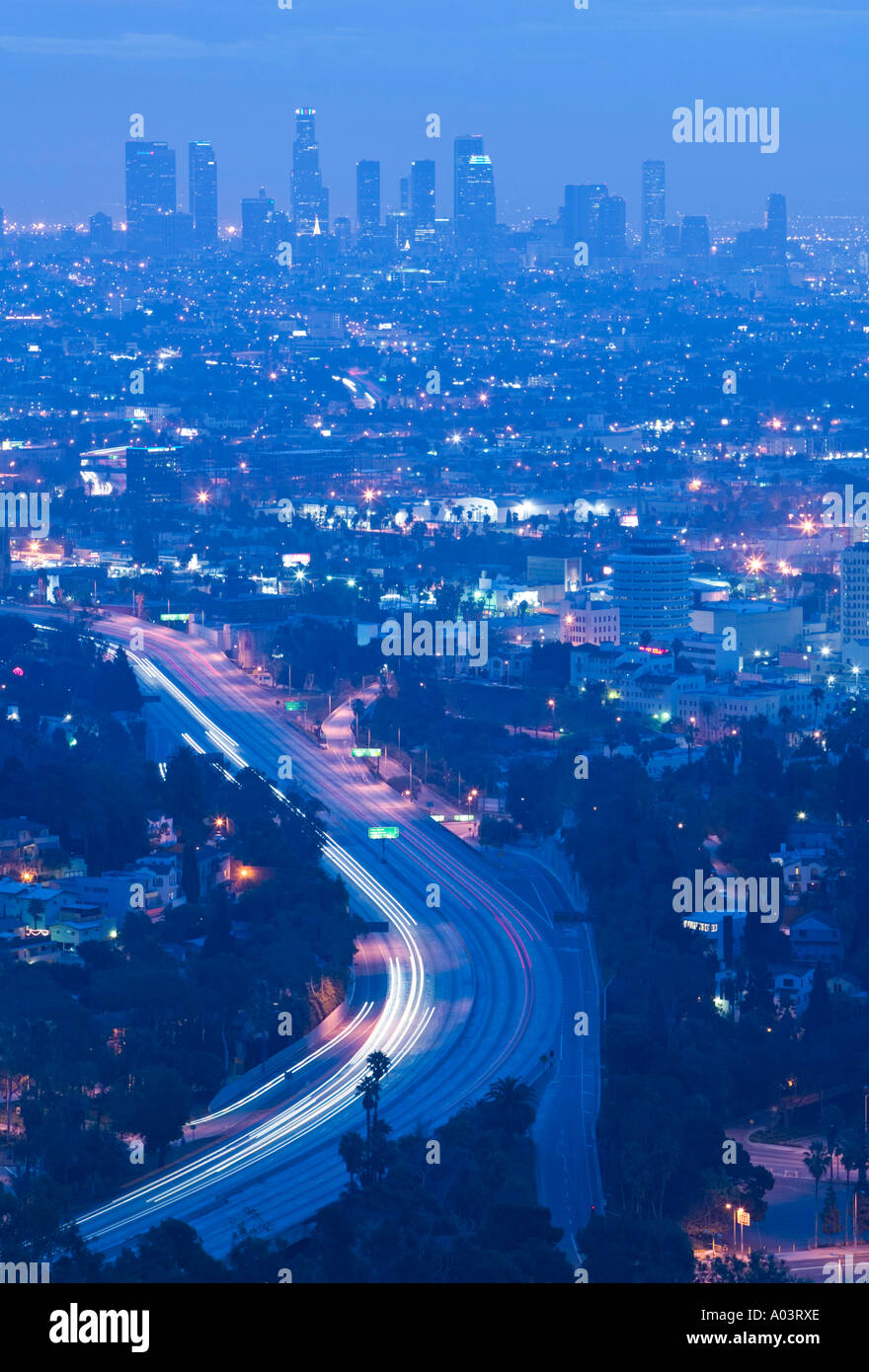 Dowtown LA & Rt. 101, Los Angeles, California, USA - Stock Image