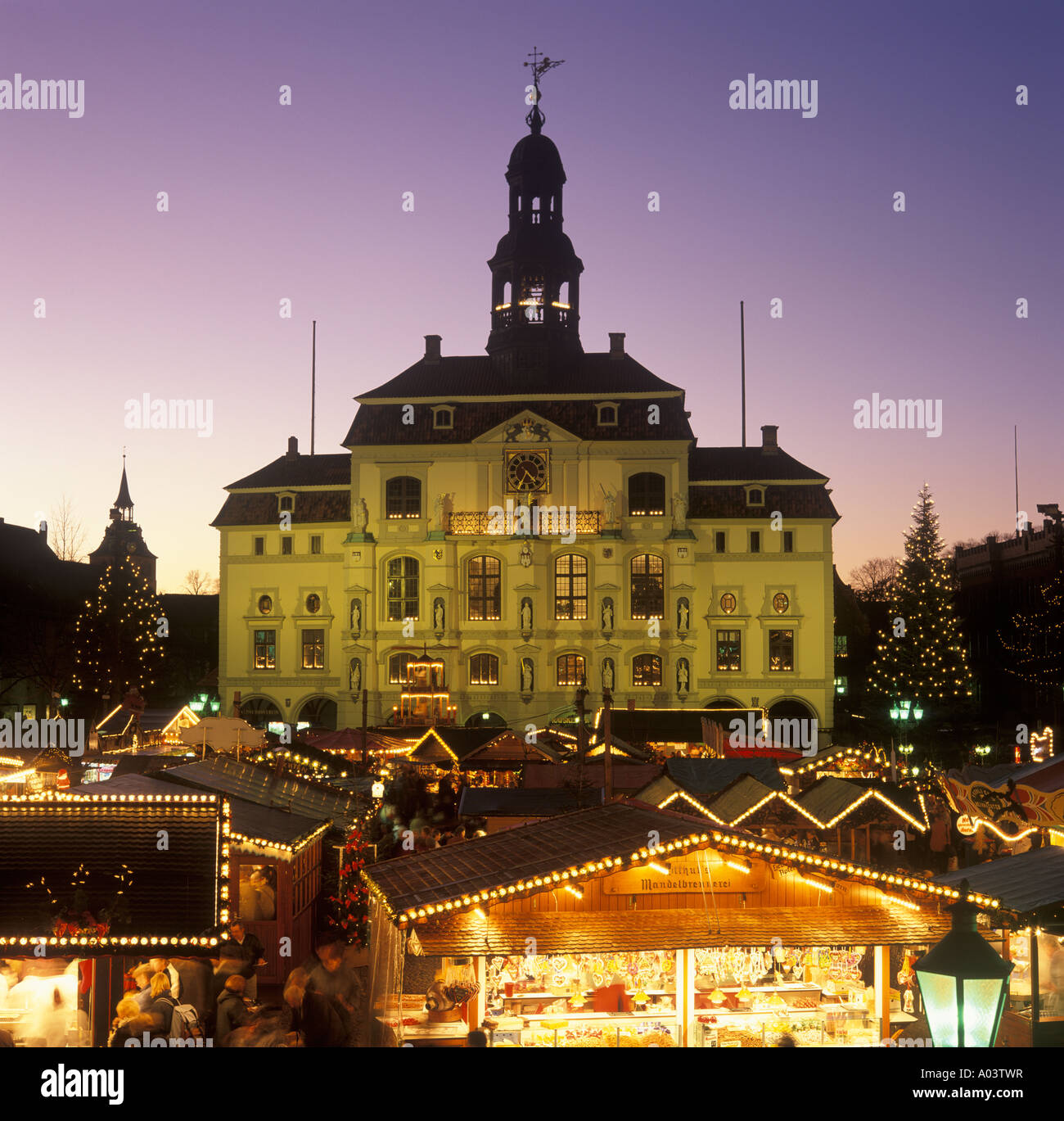 Christmas Market in Lueneburg in Northern Germany Stock Photo
