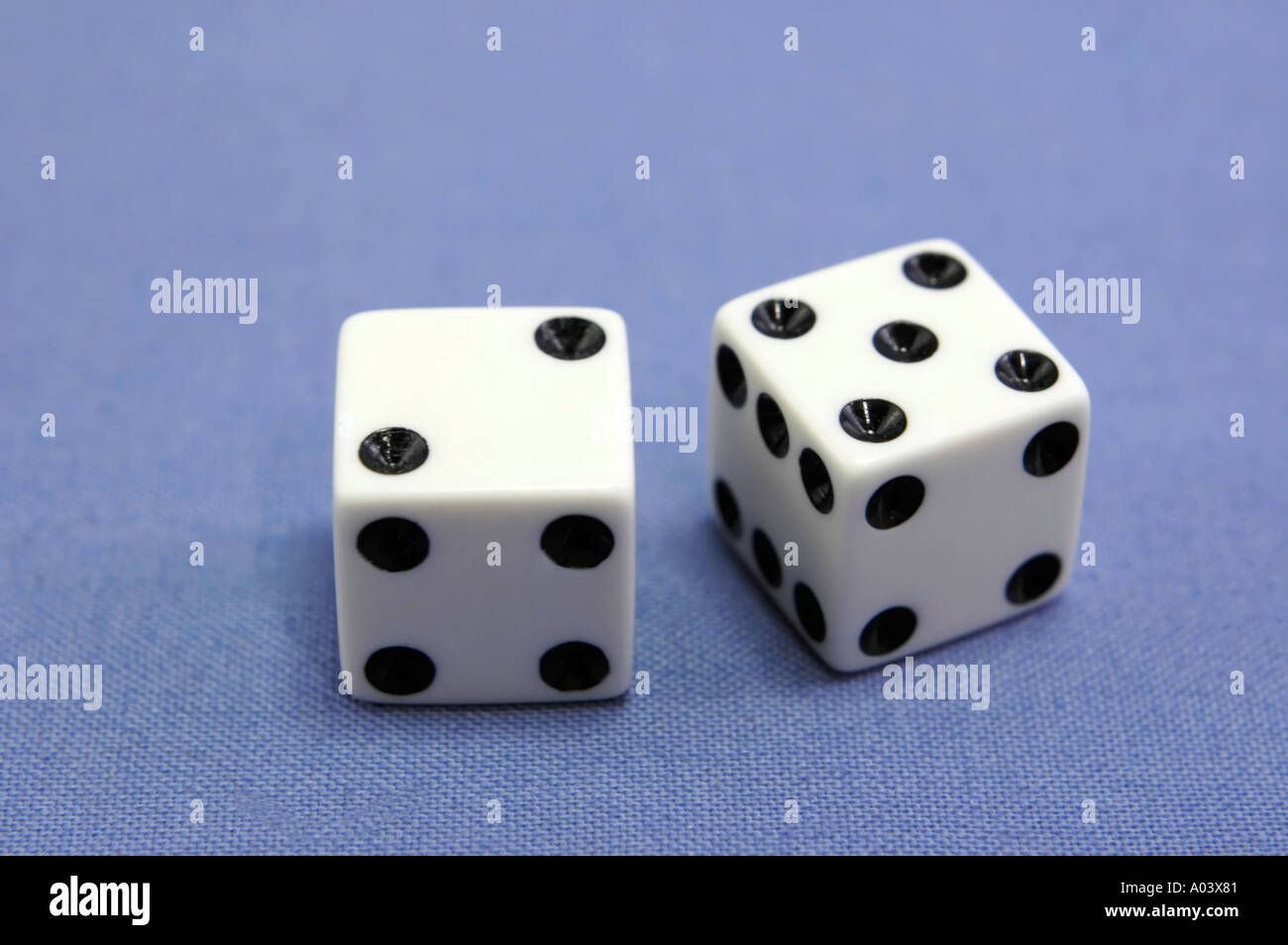 Pair of dice showing the number 7 seven - Stock Image