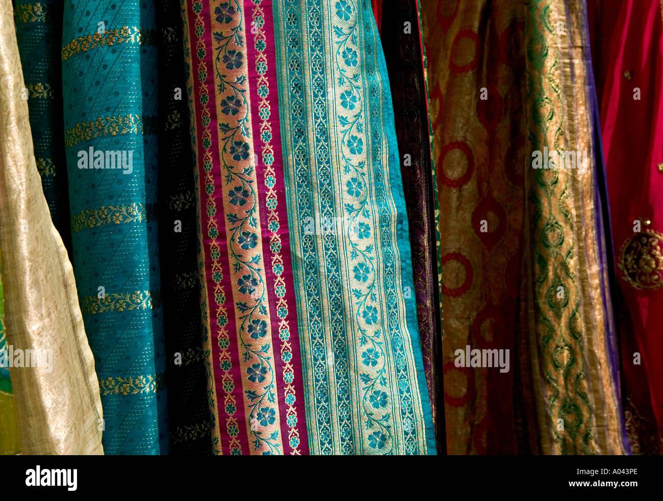 Silk fabrics, Delhi, India - Stock Image