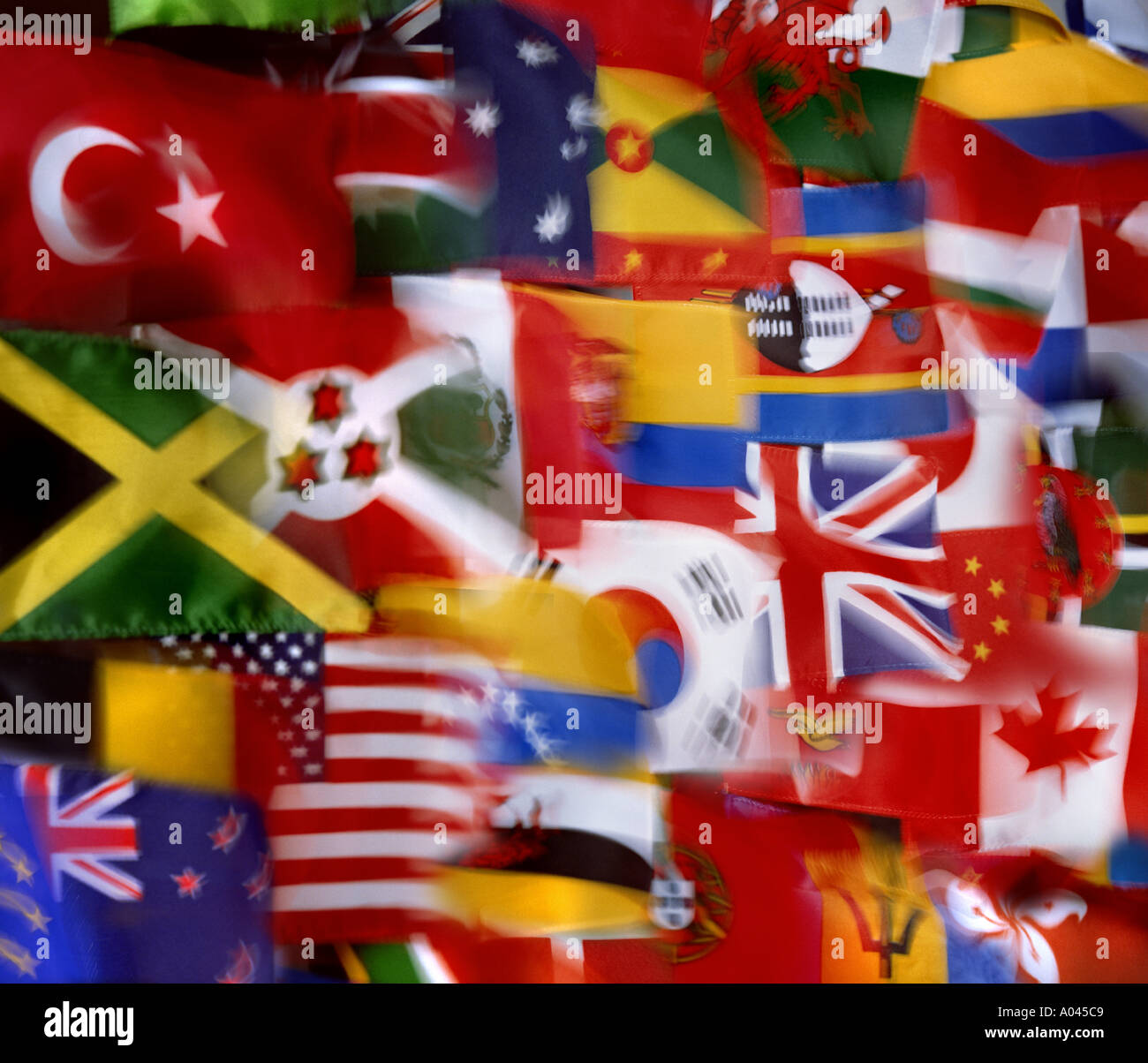 Flags of the World National Flags montage Global Village  Communication - Stock Image