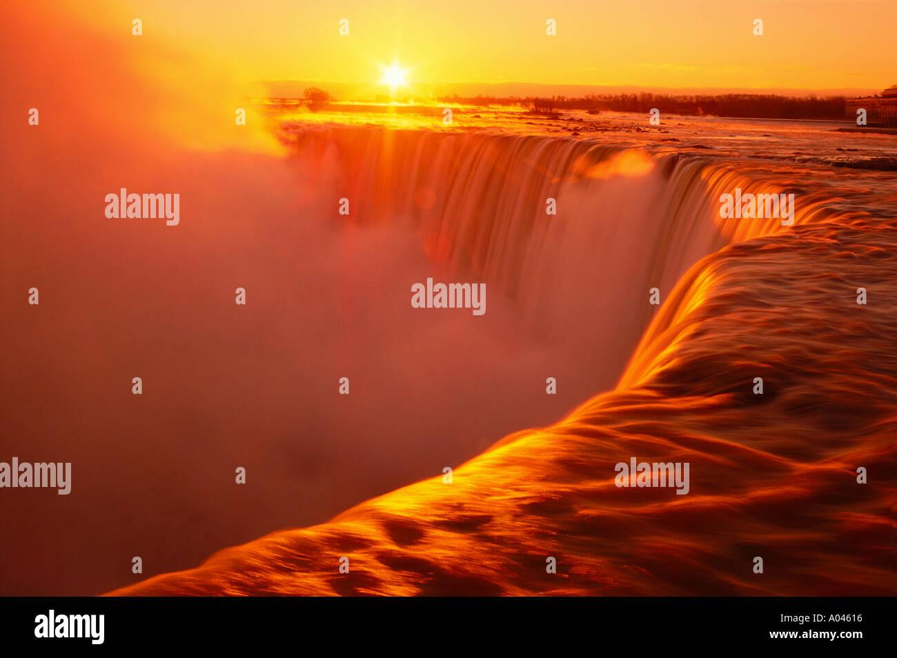 Canada Ontario Niagara Falls sunrise over Niagara Falls - Stock Image