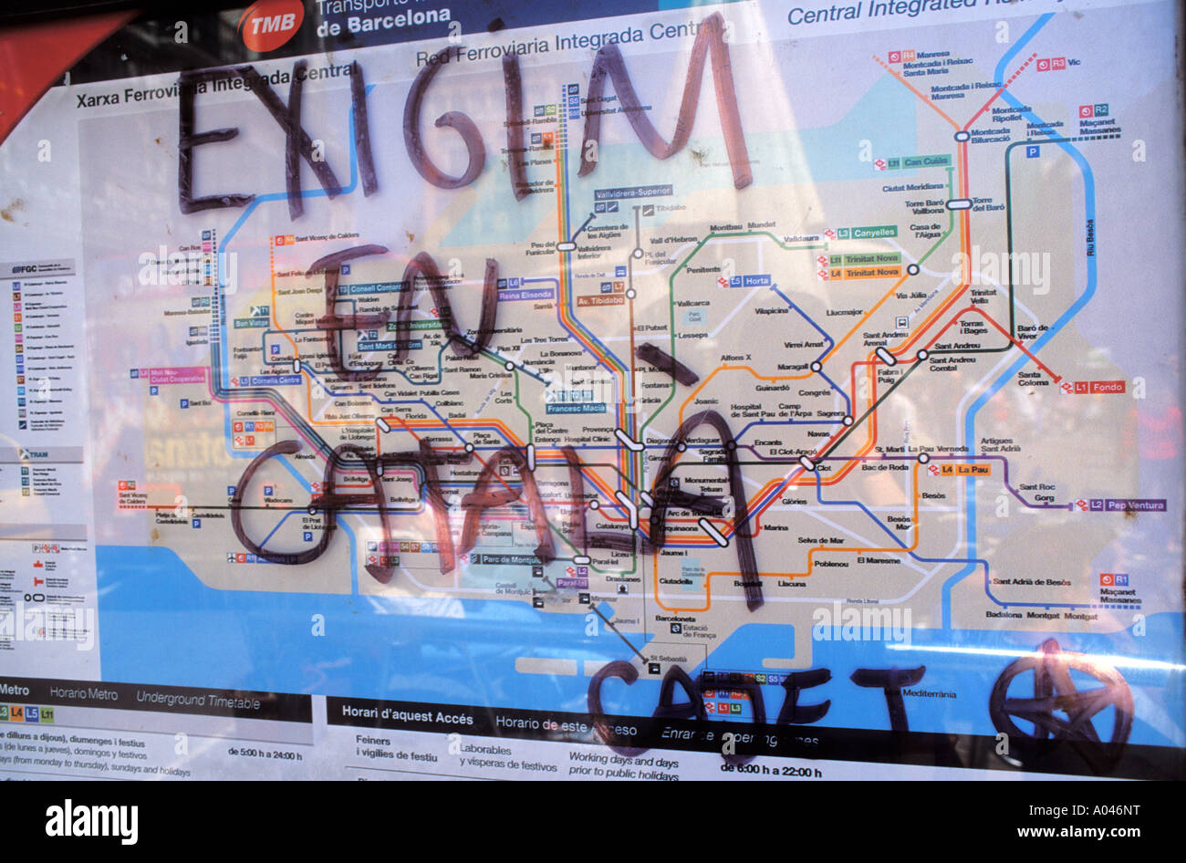 Subway Map Of Barcelona Spain.Barcelona Subway Map Stock Photos Barcelona Subway Map Stock