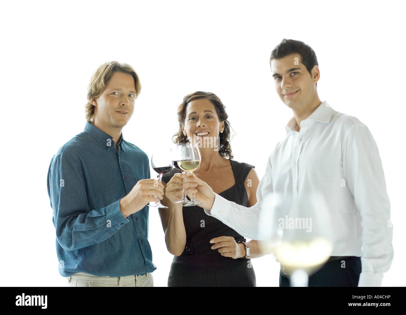 People making a toast with glasses of wine - Stock Image