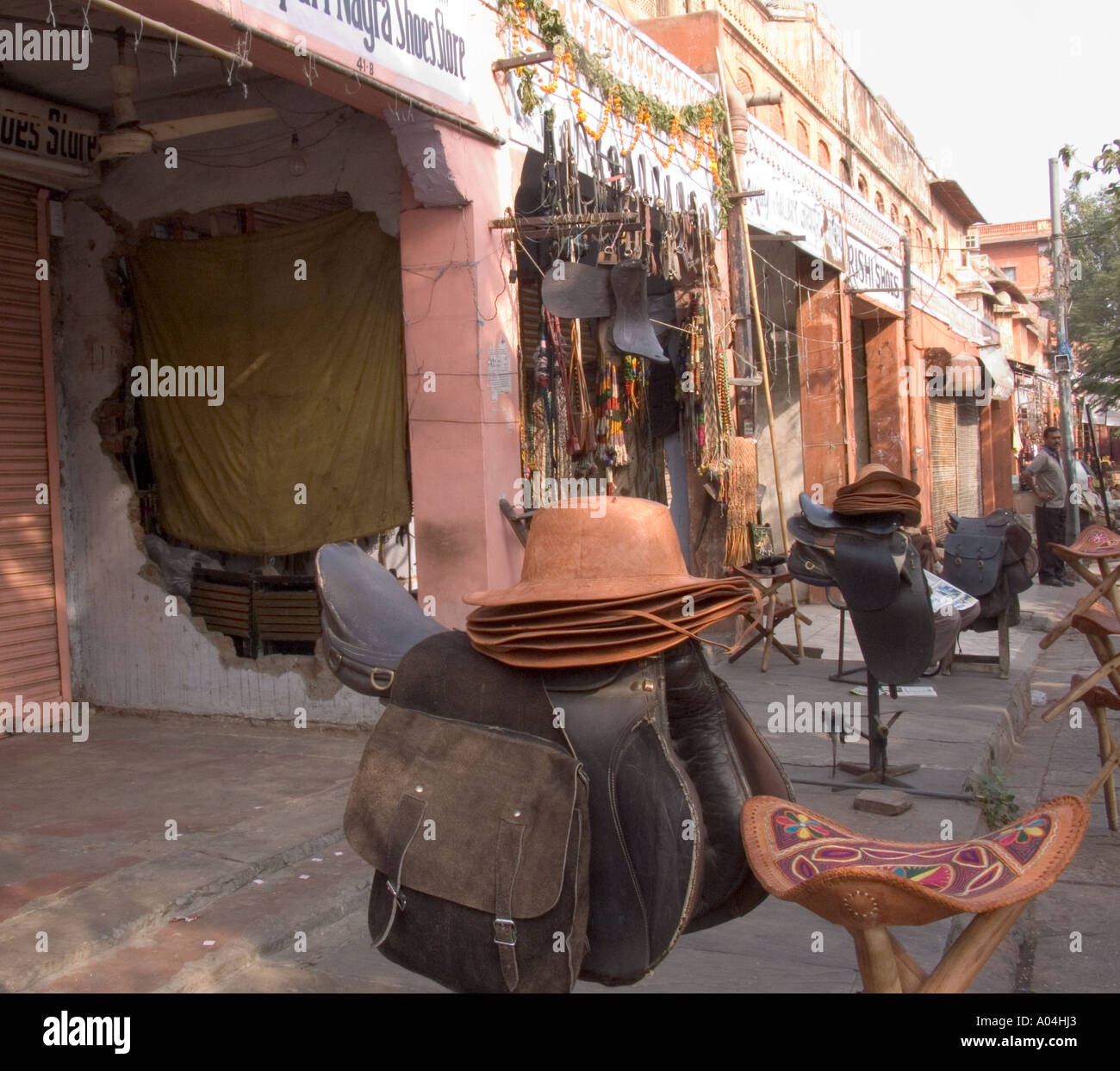 JAIPUR RAJASTHAN INDIA November A local shop selling leather goods - Stock Image