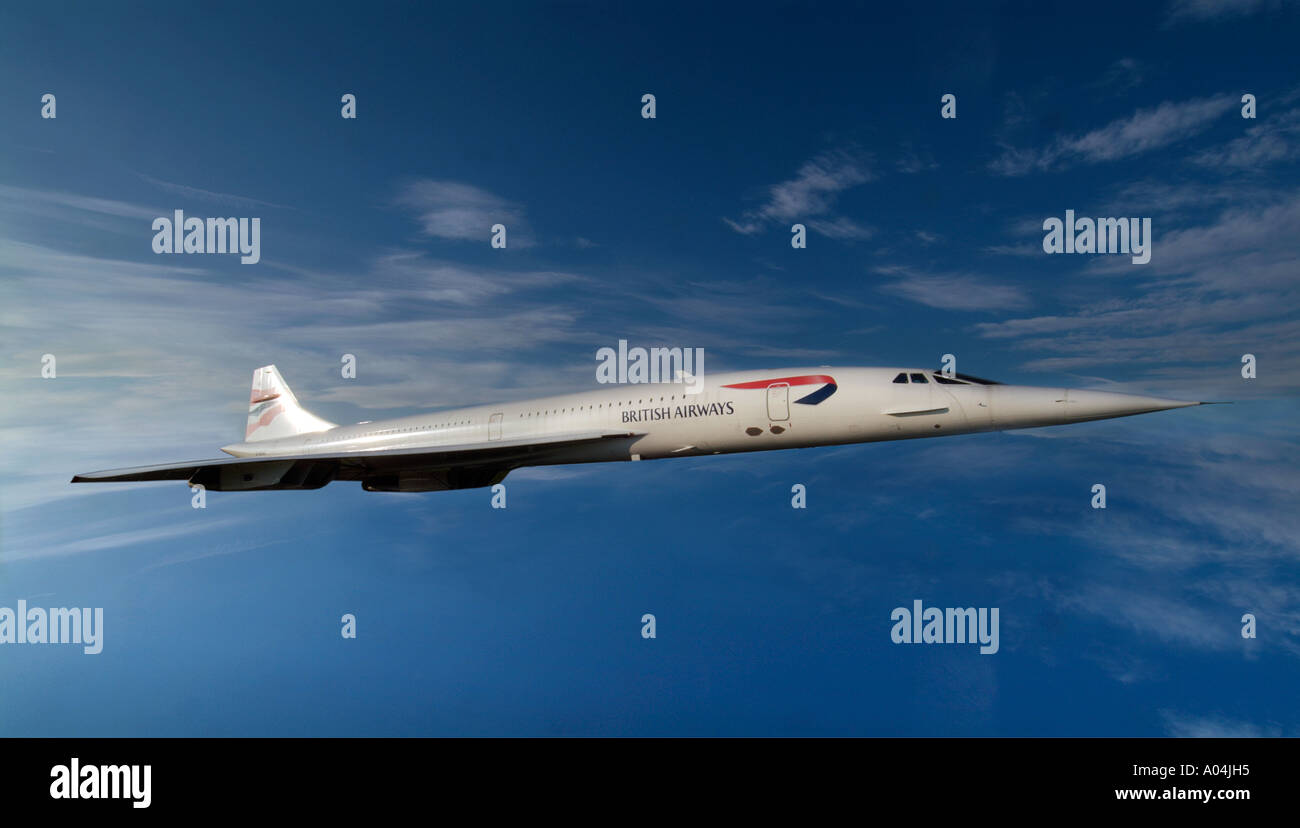 Concorde anglo french supersonic aircraft blue sky - Stock Image