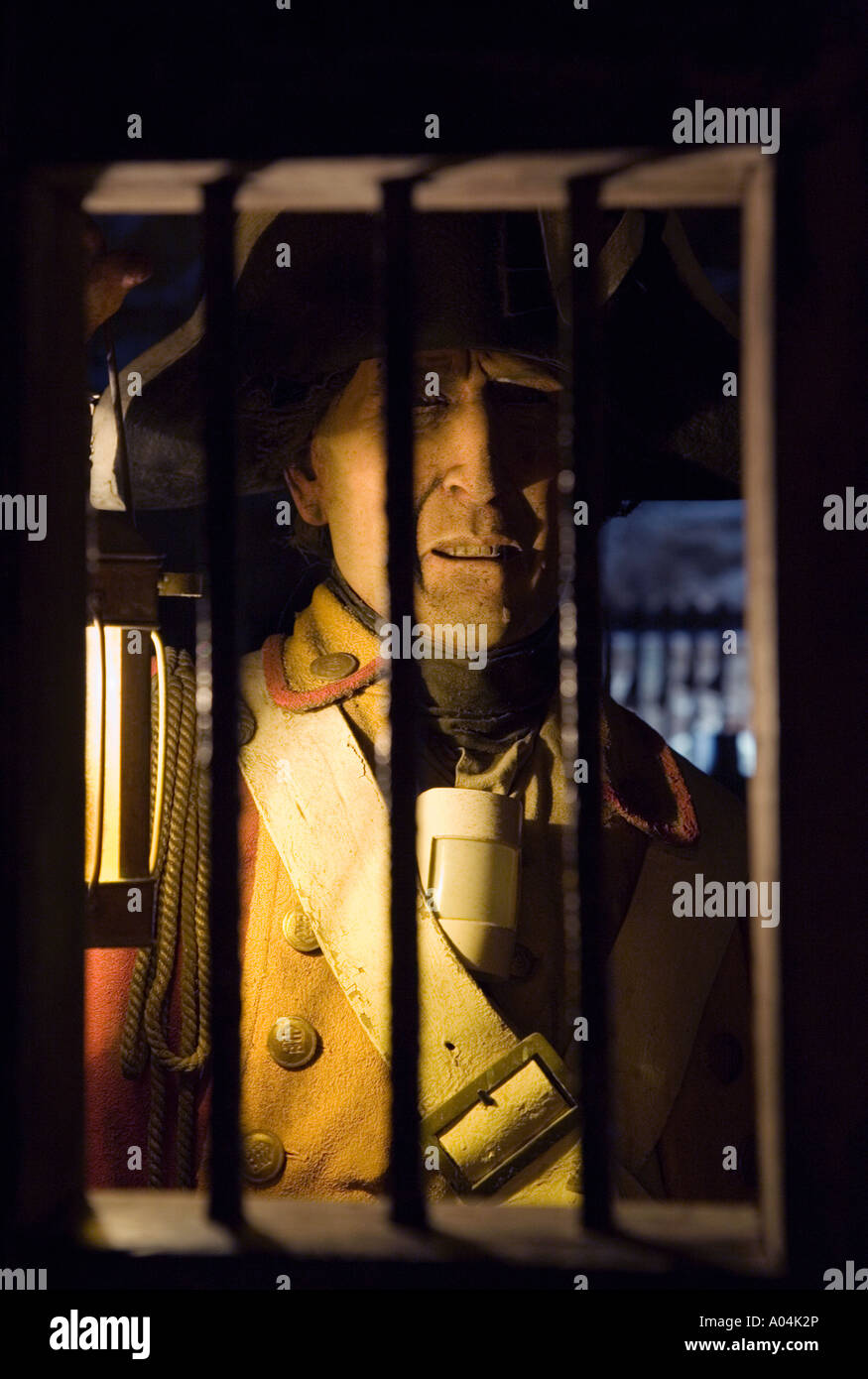 Gibraltar The Great Siege Tunnel Waxwork display of sentry - Stock Image